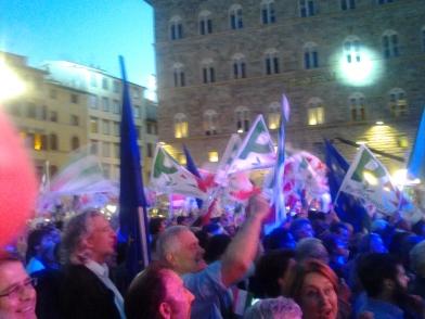 Serata di chiusura della campagna elettorale del PD. In piazza della Signoria con Matteo Renzi.