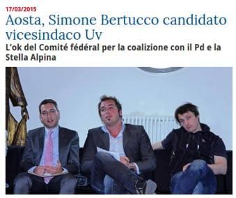 Simone Bertucco il candidato vice sindaco per la coalizione UV-PD-SA è quello svaccato sulla destra.
